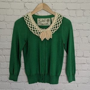 Field Flower | Lattice Snap Green Cardigan S